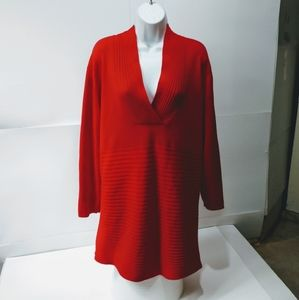 Ashley Stewart 2X tunic sweater red long sleeve